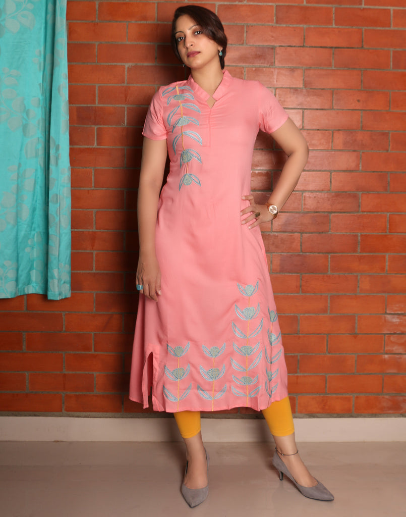 Living Coral Embroidered Asymmetric Kurti