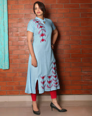 Misty Blue Embroidered Asymmetric Kurti