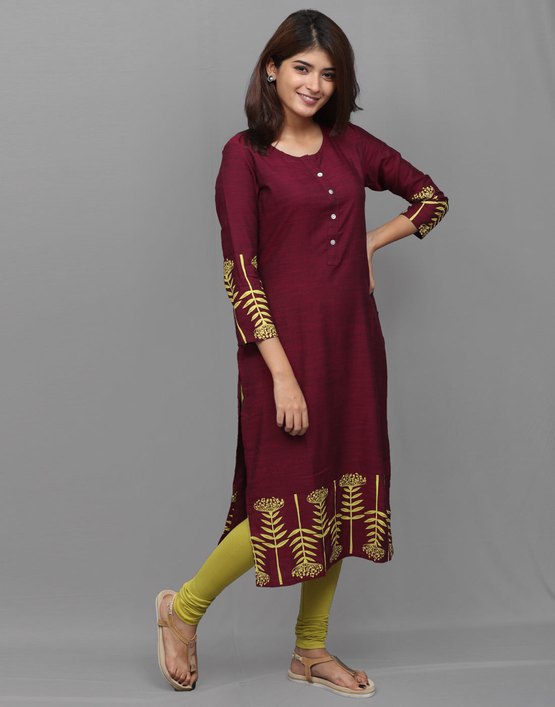 Fuchsia Purple Rayon Straight Cut Kurta