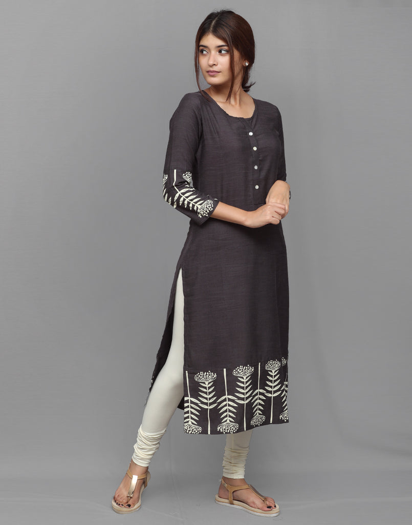 Dark Grey Rayon Straight Cut Kurta