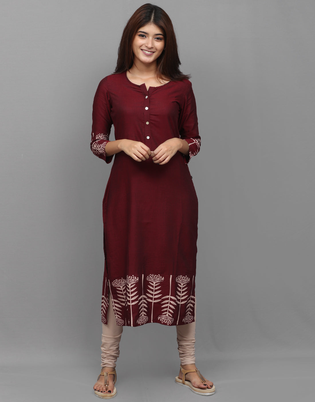 Beet Red Rayon Straight Cut Kurta