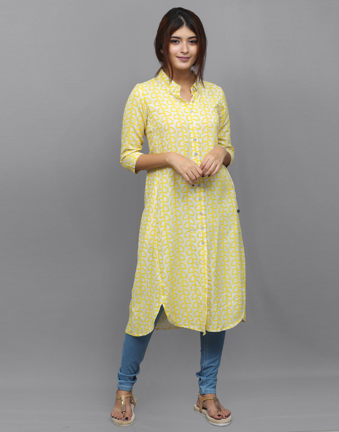 Pastel Yellow Retro Printed Kurta