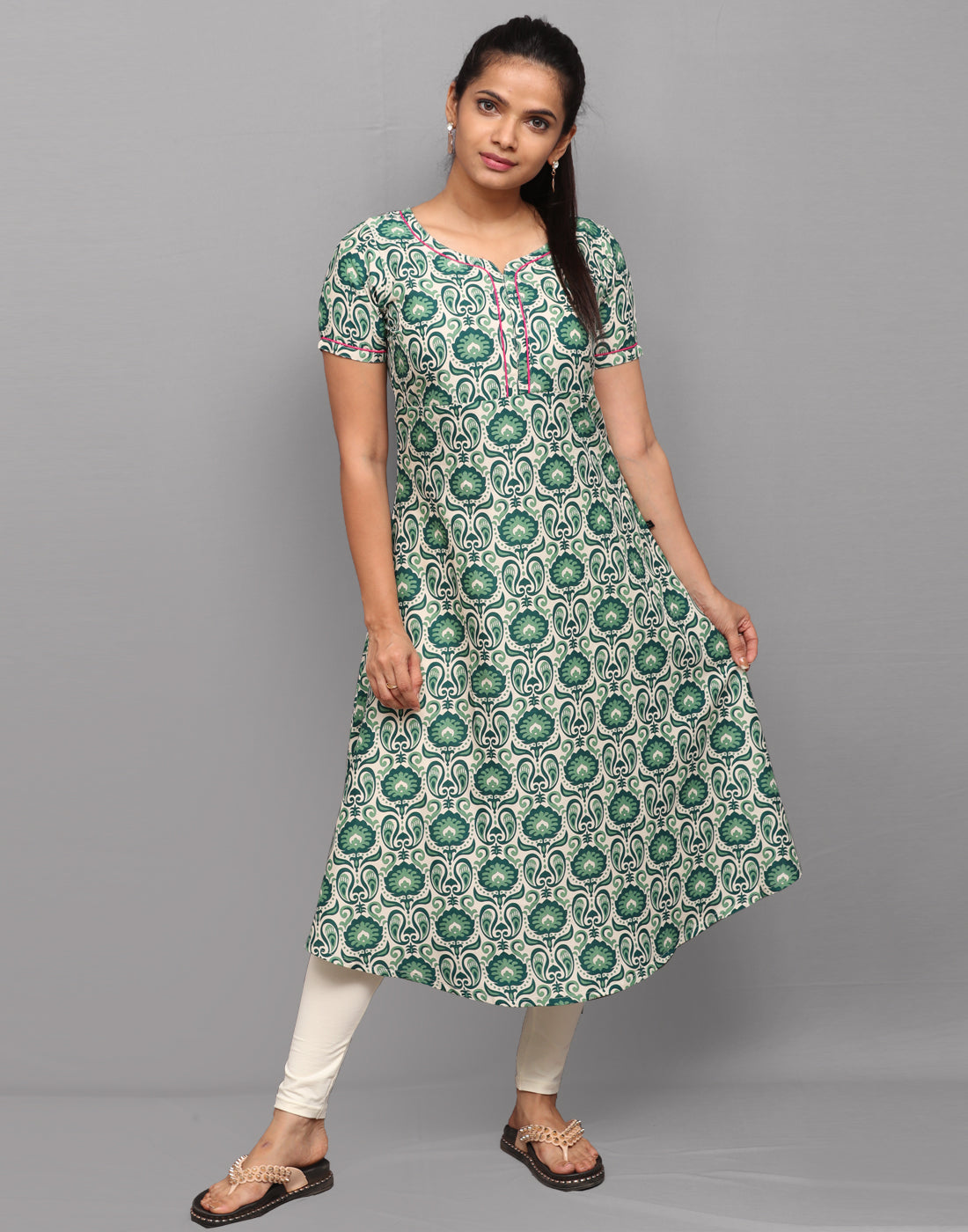 Bottle Green Ethnic Printed Anarkali