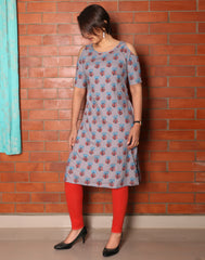 Lavender Retro Printed Cold Shoulder Kurta