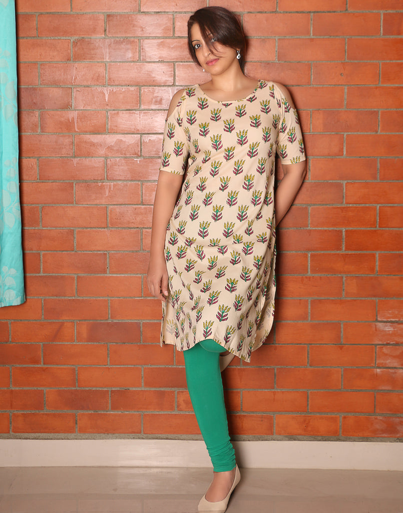 Cream Retro Printed Cold Shoulder Kurta