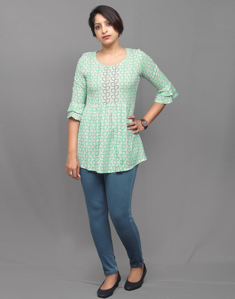 Turquoise Hand Embroidered Short Kurti