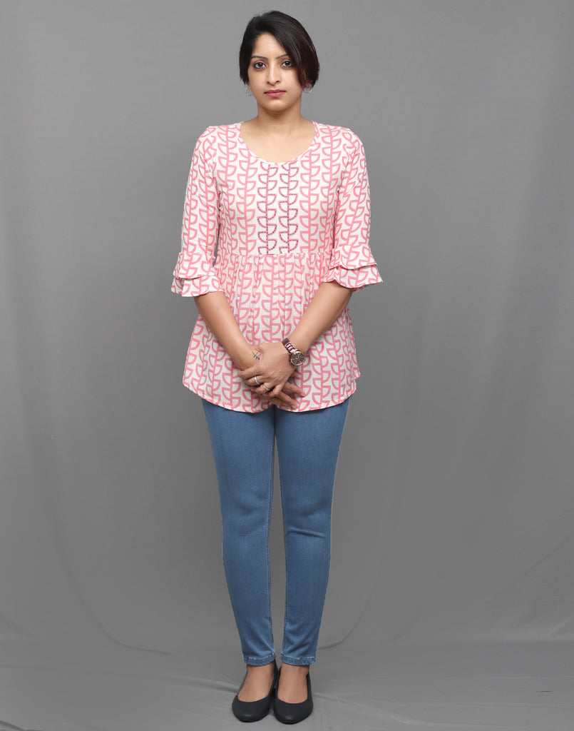 Pastel Pink Hand Embroidered Short Kurti