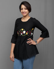 Black Floral Embroidered Tunic Top