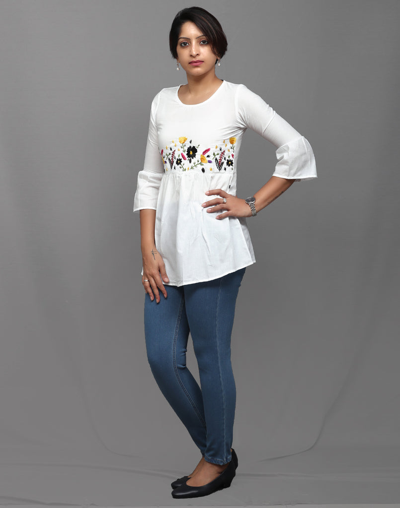 White Floral Embroidered Tunic Top