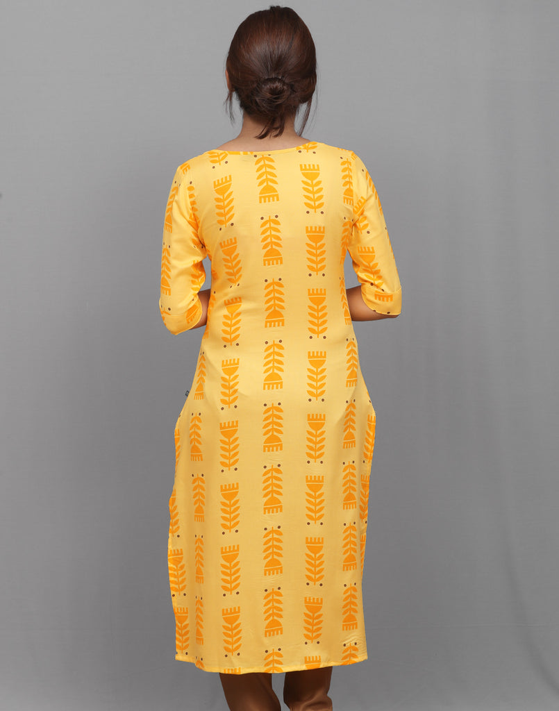 Yellow Ethnic Printed Kurta