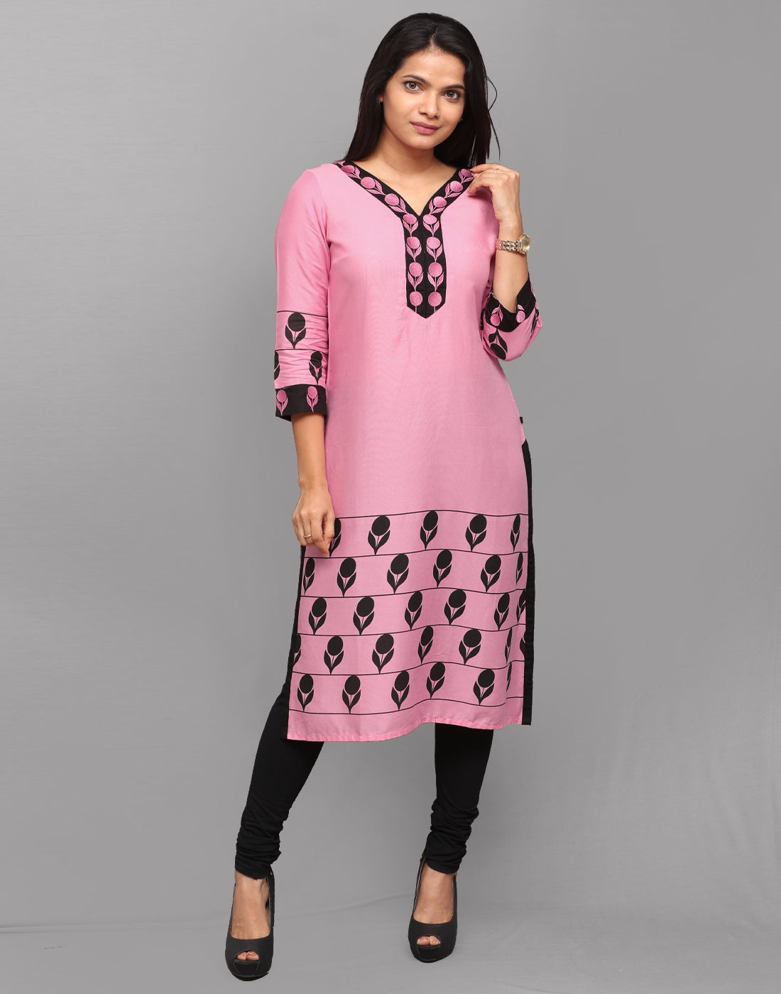 Pastel Pink Retro Print Embroidered Kurta