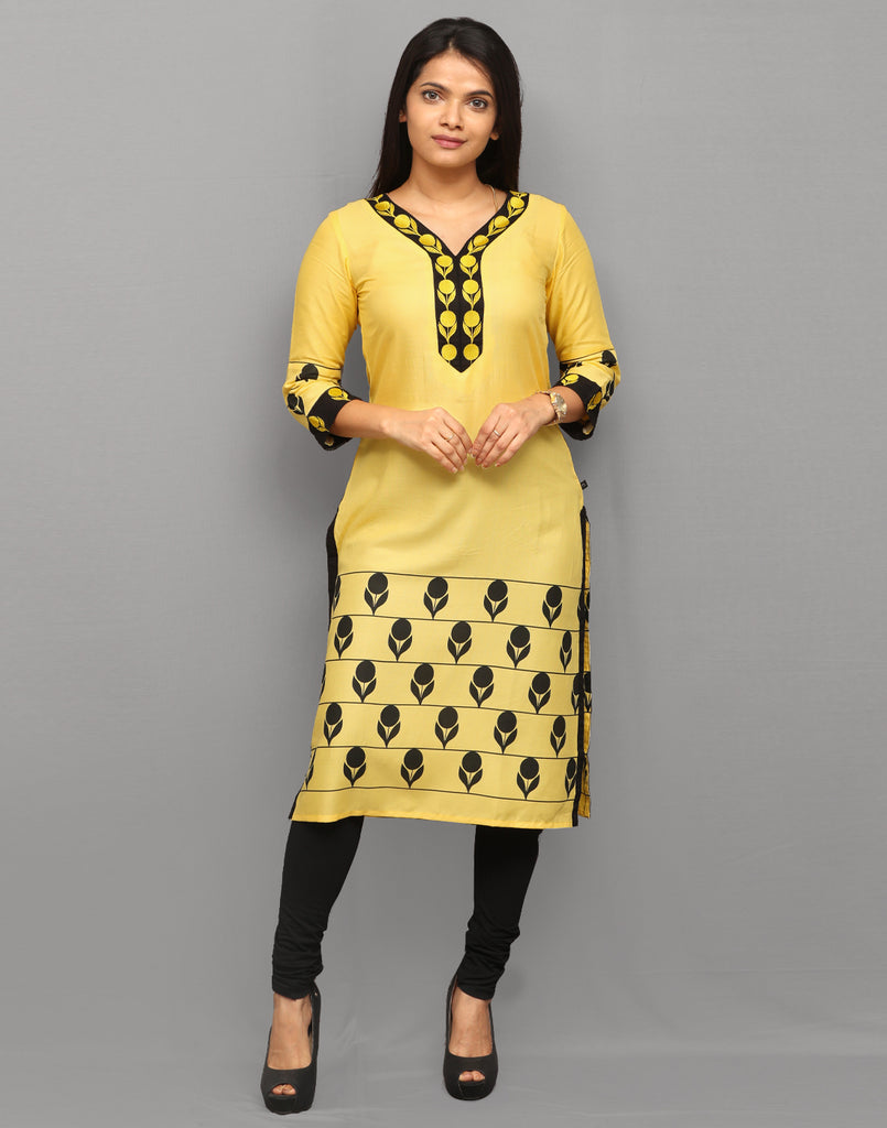 Pastel Yellow Retro Print Embroidered Kurta