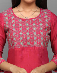 Hot Pink Sparkling Embroidered Anarkali Kurta