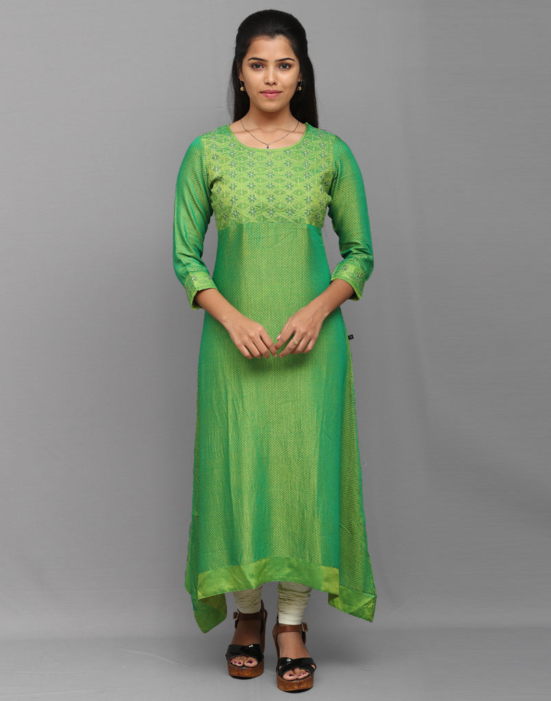 Iguana Green Sparkling Embroidered Anarkali Kurta