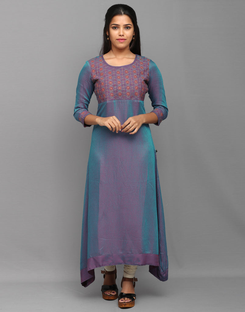 Ocean Blue Sparkling Embroidered Anarkali Kurta