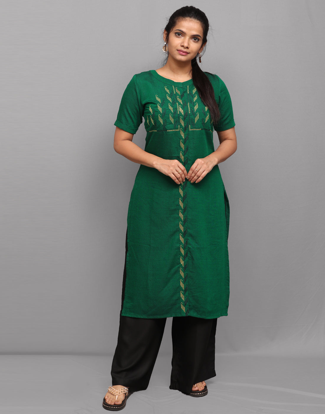 Bottle Green Long Slub Embroidered Kurta
