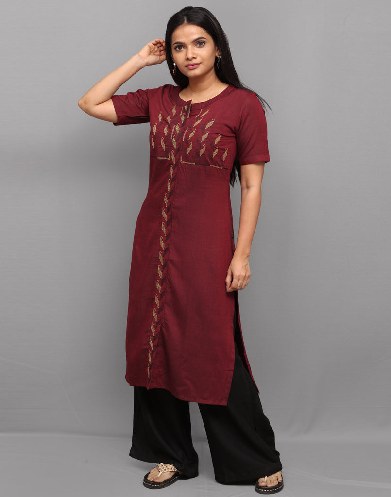 Brick Red Long Slub Embroidered Kurta