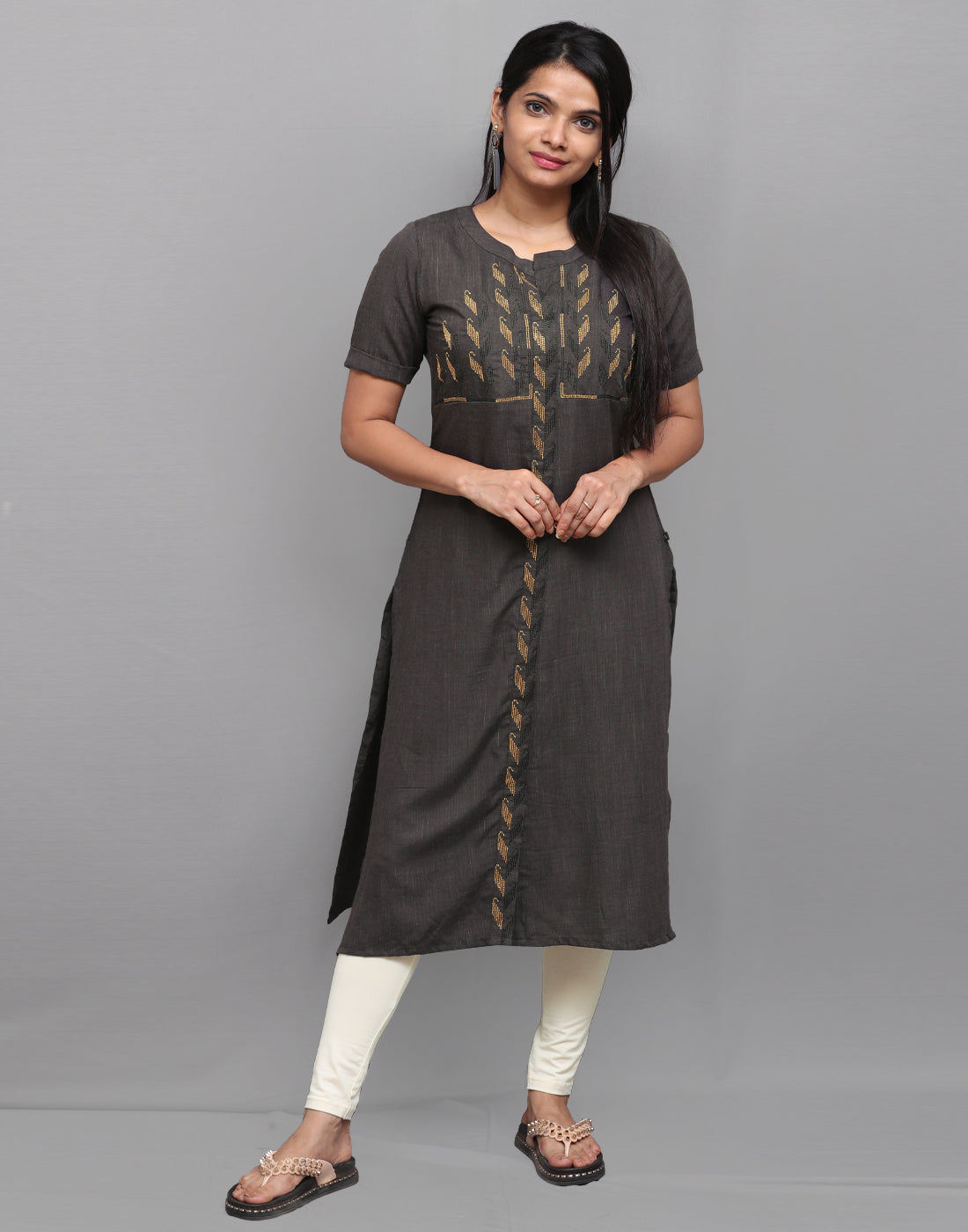 Dark Grey Long Slub Embroidered Kurta