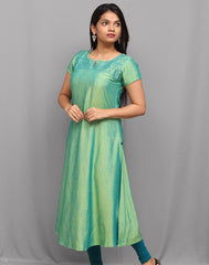 Iguana Green Embroidered Anarkali Kurta