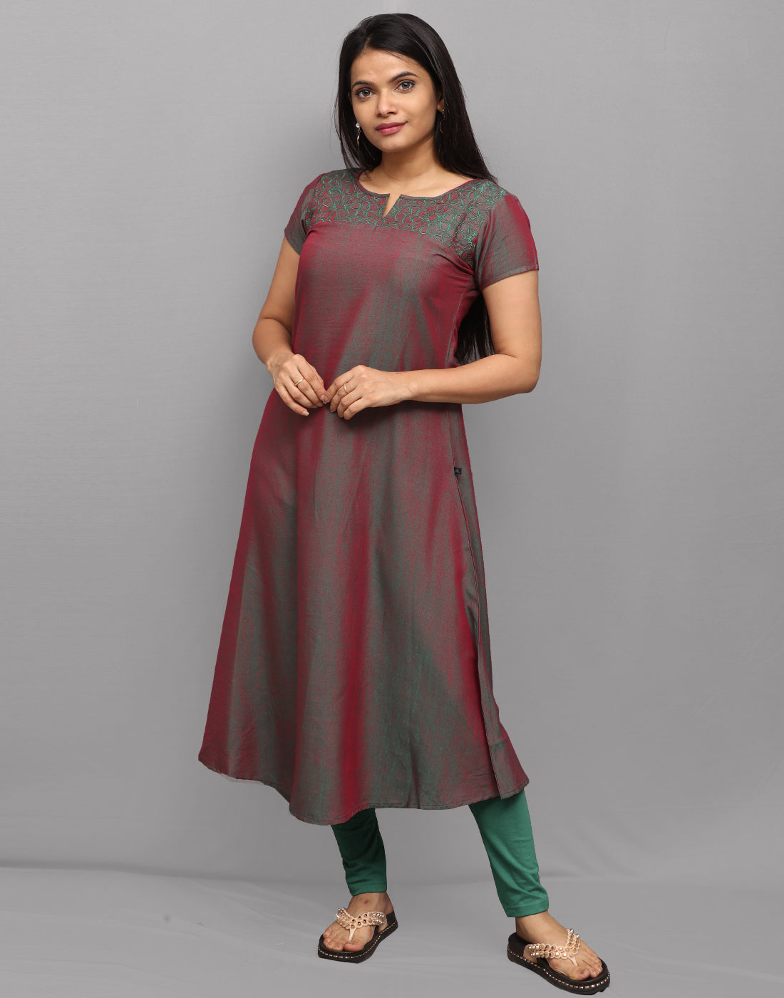 Brown Green Embroidered Anarkali Kurta