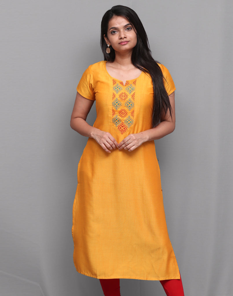 Saffron Yellow Embroidered Straight Cut Kurta