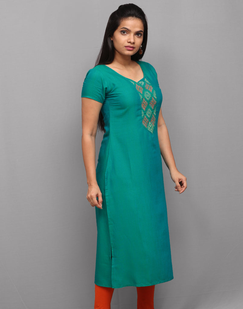 Viridian Green Embroidered Straight Cut Kurta