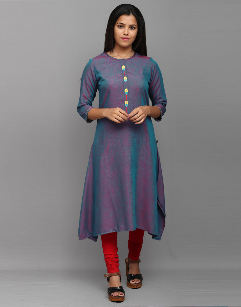 Twin Tone Blue Embroidered Placket Asymmetric Kurta