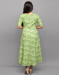 Ethnic Printed Green Anarkali Kurta