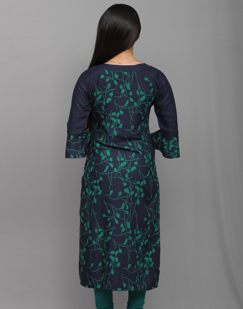 Navy n Blue Abstract Printed Kurta