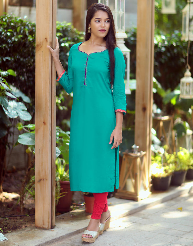 Deep Electric Blue Embroidered Festive Kurti