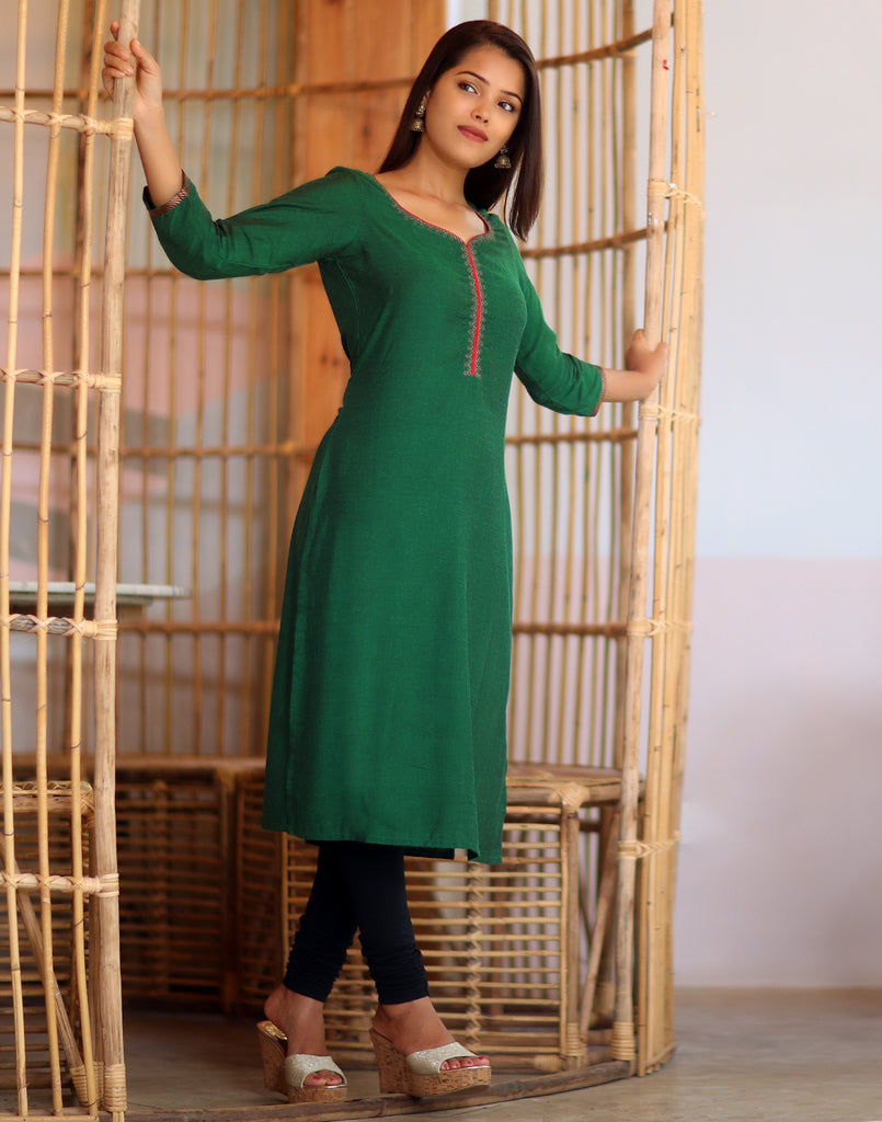 Bottle Green embroidered Festive Kurti