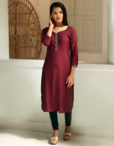 Brick Red embroidered Festive Kurti