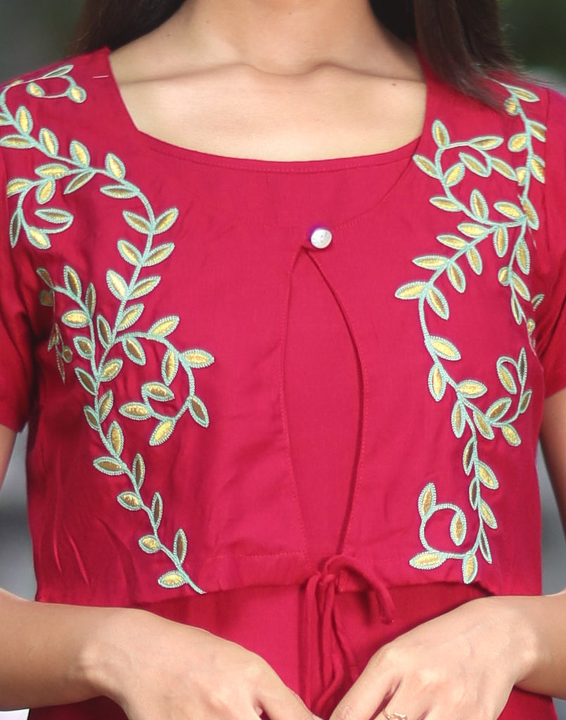 Hot Pink Floral Embroidered Kurta with Overcoat