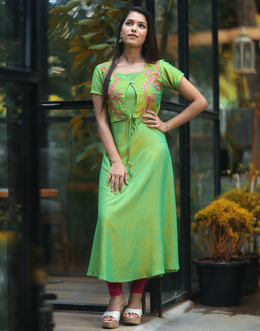 Parrot Green Floral Embroidered Kurta with Overcoat