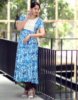 Blue Retro Printed and Embroidered Anarkali Kurta