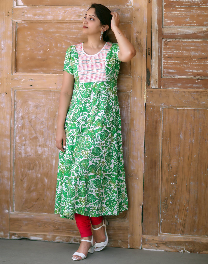 Green Retro Printed and Embroidered Anarkali