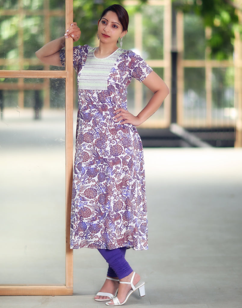 Purple Retro Printed and Embroidered Anarkali