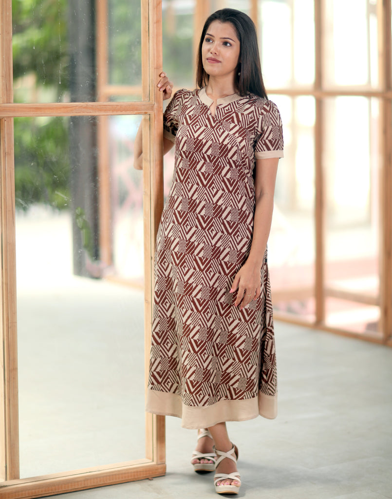 Brown Geometric Printed Anarkali