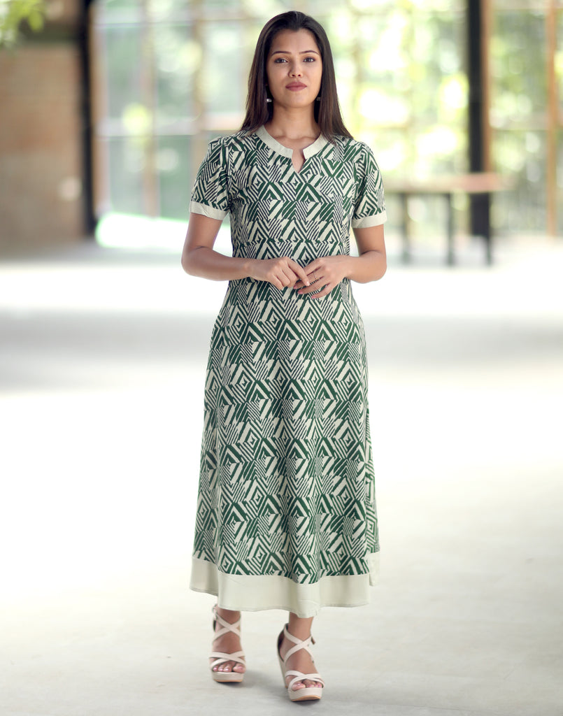 Green Geometric Printed Anarkali