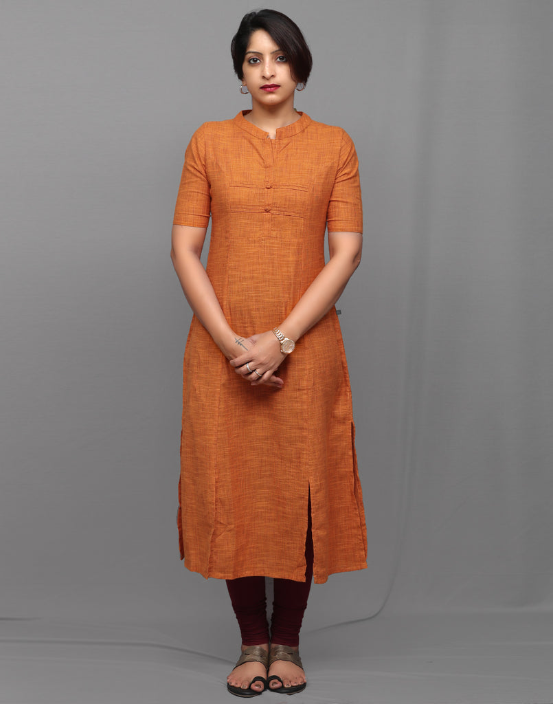 Russet Orange Slub Cotton Classic Straight Kurta