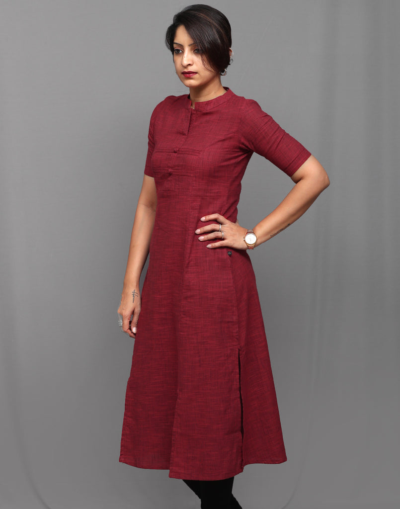 Ribbon Red Slub Cotton Classic Straight Kurta