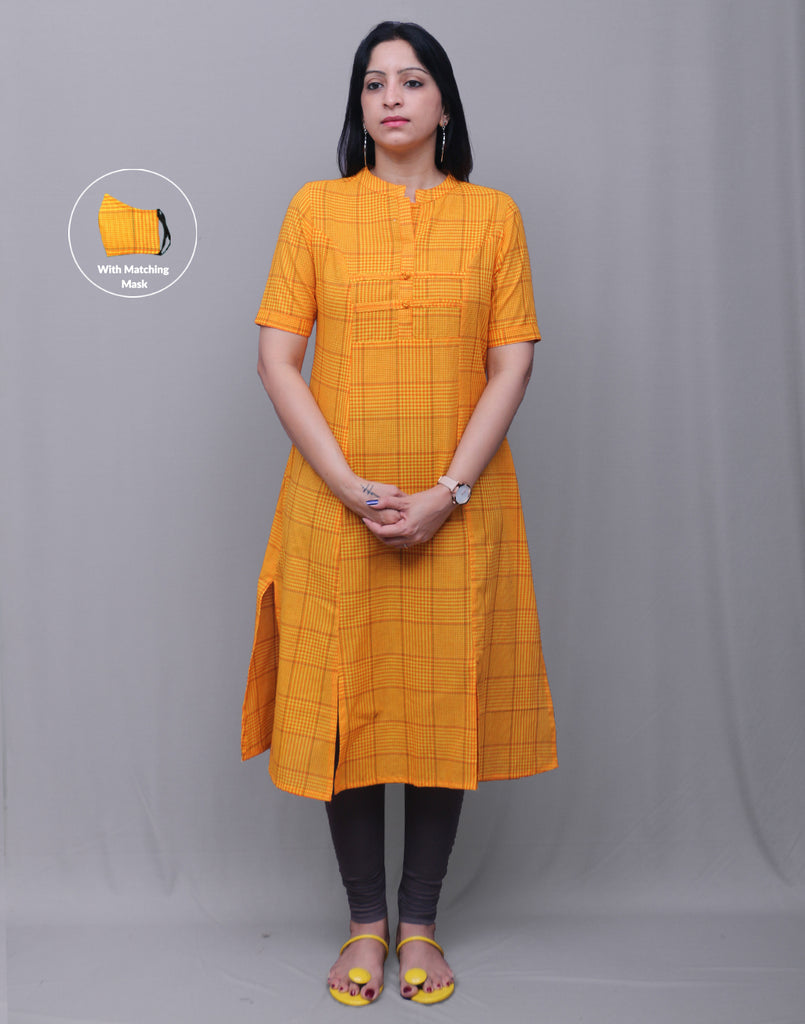 Orange checked Slub Cotton Classic Straight Kurta