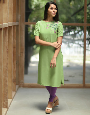 Pastel Green Retro Embroidered Kurti