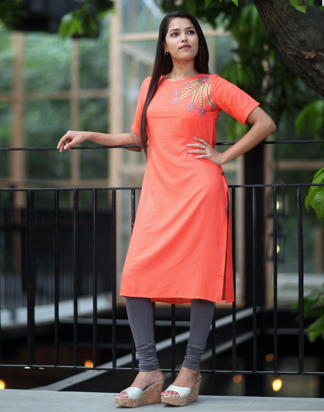 Pastel Orange Retro Embroidered Kurti