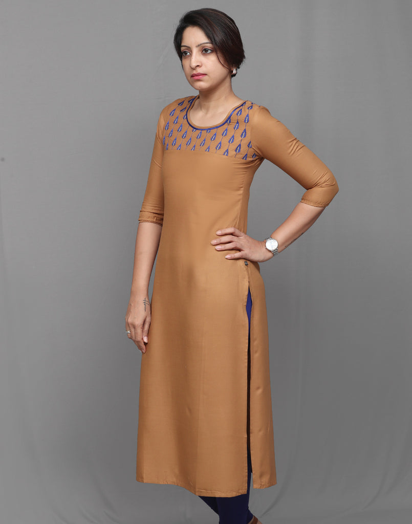Bronze Brown Embroidered Straight Kurta