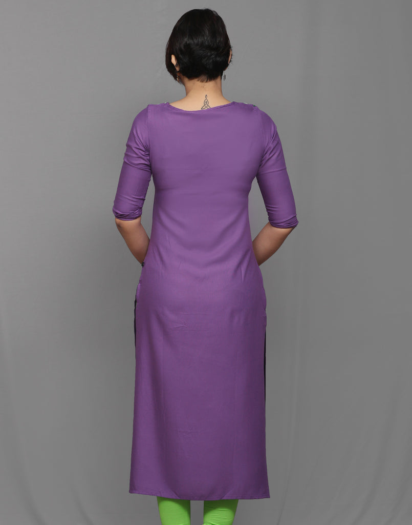 Dark Purple Grey Embroidered Straight Kurta