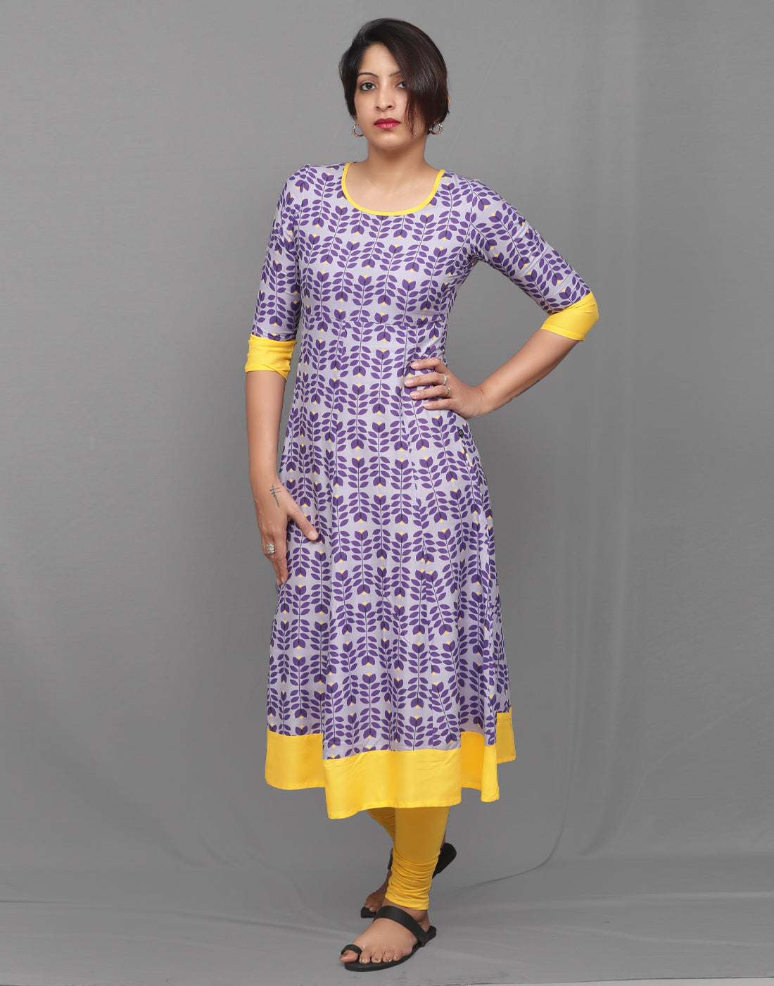 Purple Printed and Yellow Flare Anarkali