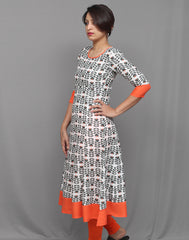 Olive Green Printed and Orange Flare Anarkali