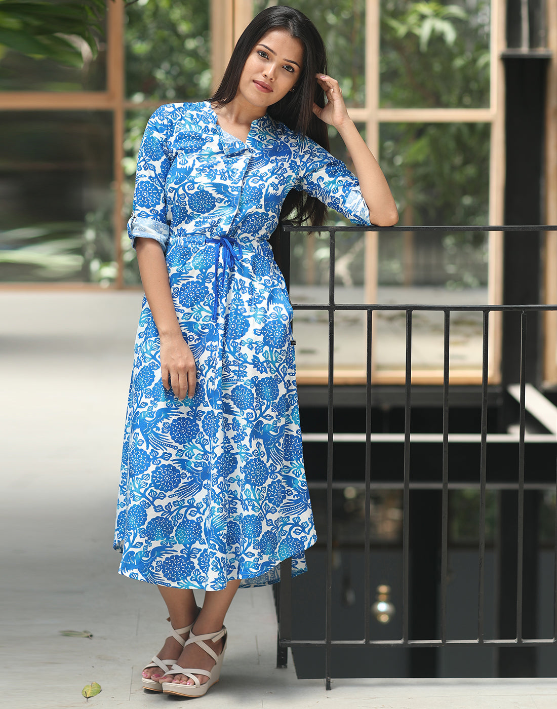 Aqua Blue Floral Printed Maxi Dress Style Anarkali