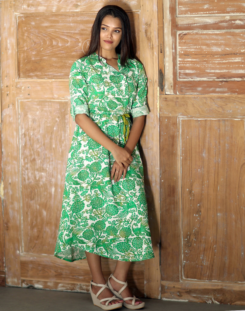 Vibrant Green Floral Printed Maxi Dress Style Anarkali